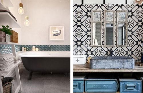 Les carreaux ciment dans la salle de bains - Atelier des ...