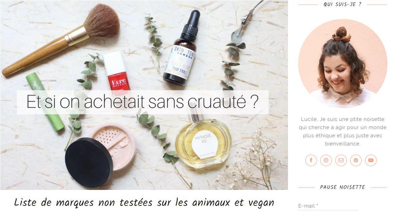 liste des produits cosmétiques non testés sur les animaux et vegan par petite noisette