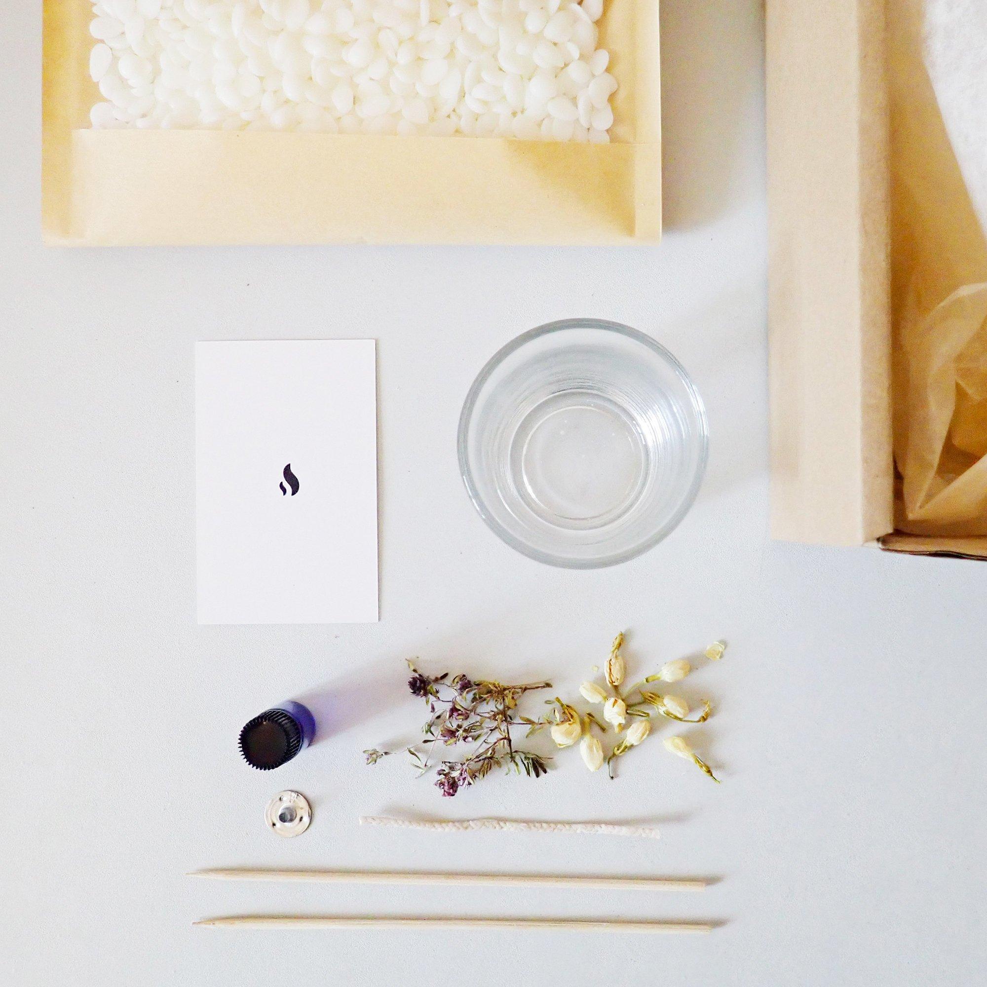 PONOIE Kit de création de bougie vegan lavande et bois de hô