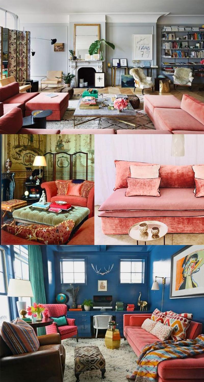 Planche inspirations couleur Living Coral : les canapés velours