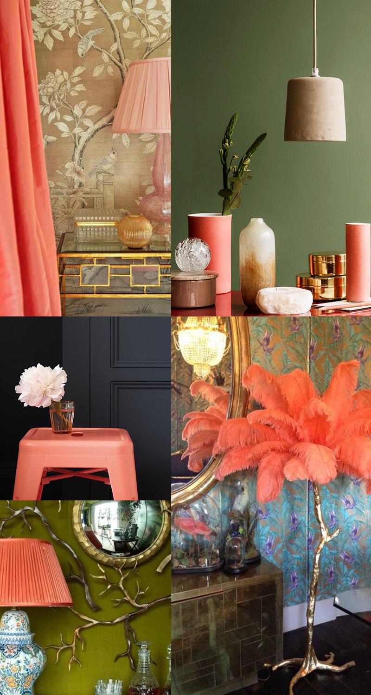 Planche inspirations couleur Living Coral : les lampes et objets déco