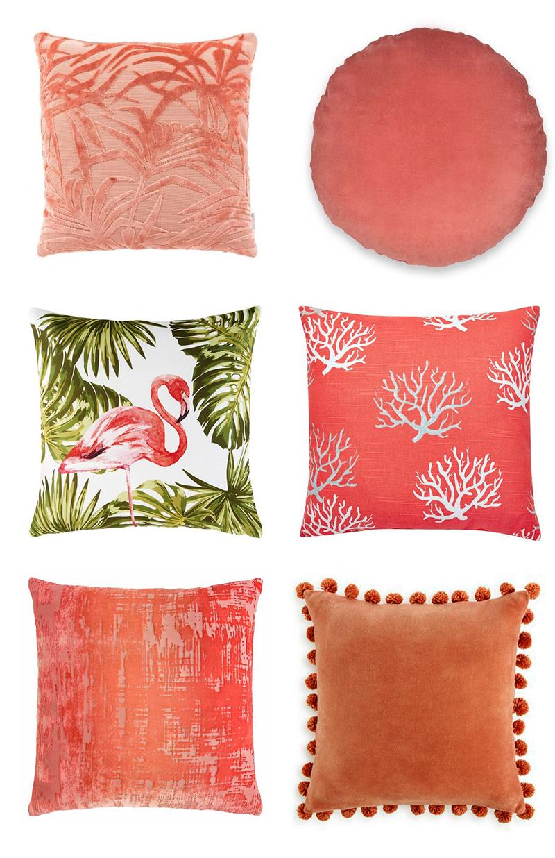 Planche inspirations couleur Living Coral : les coussins