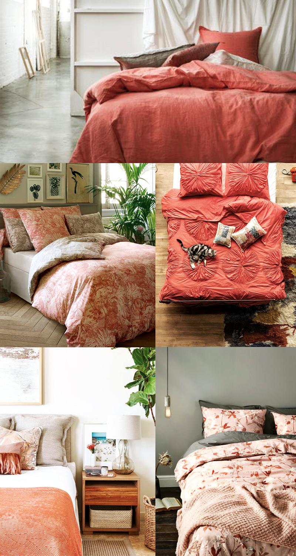 Planche inspirations couleur Living Coral : les linges de lit