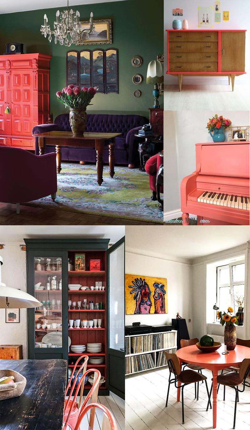 Planche inspirations couleur Living Coral : les meubles peints