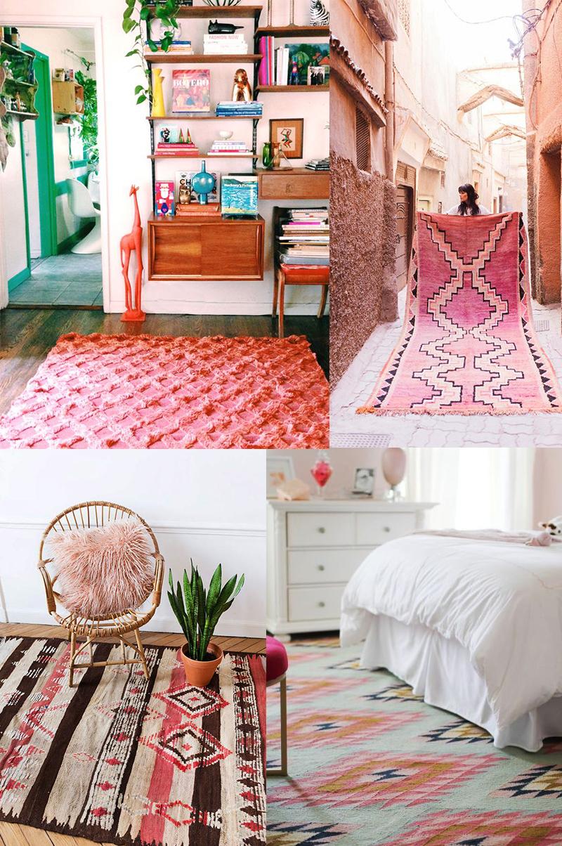 Planche inspirations couleur Living Coral : les tapis