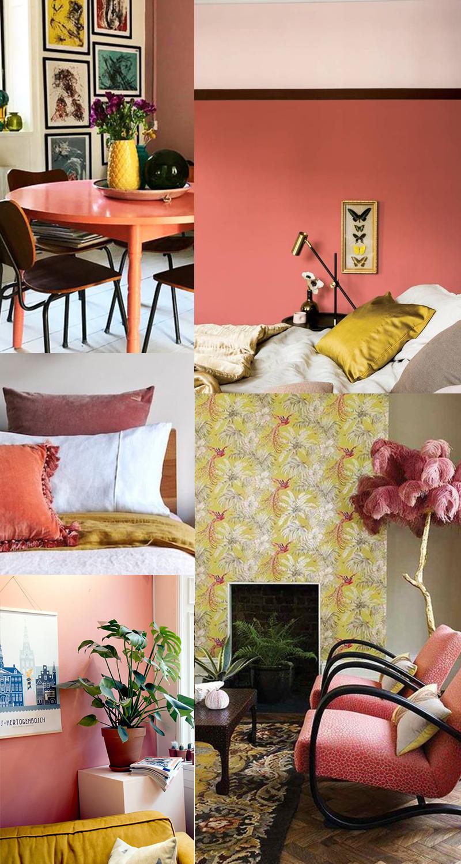 Planche couleurs : Living Coral et jaune