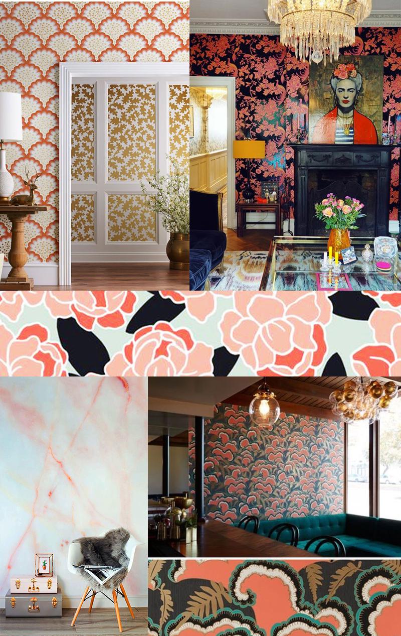 Planche inspirations couleur Living Coral : les papiers peints