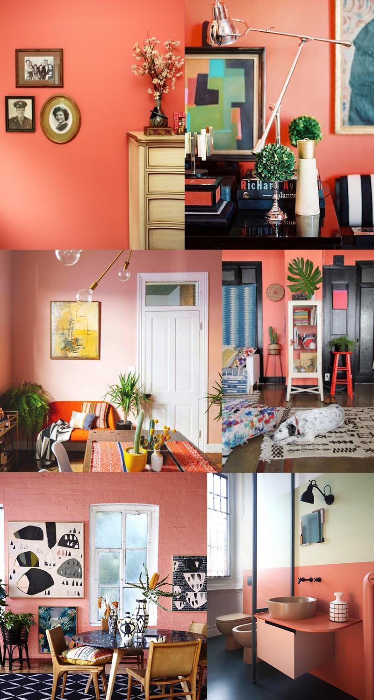 Planche inspirations couleur Living Coral : les murs peints
