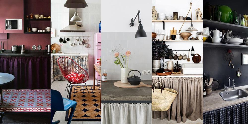 20 inspirations pour habiller ses meubles de cuisine avec des rideaux
