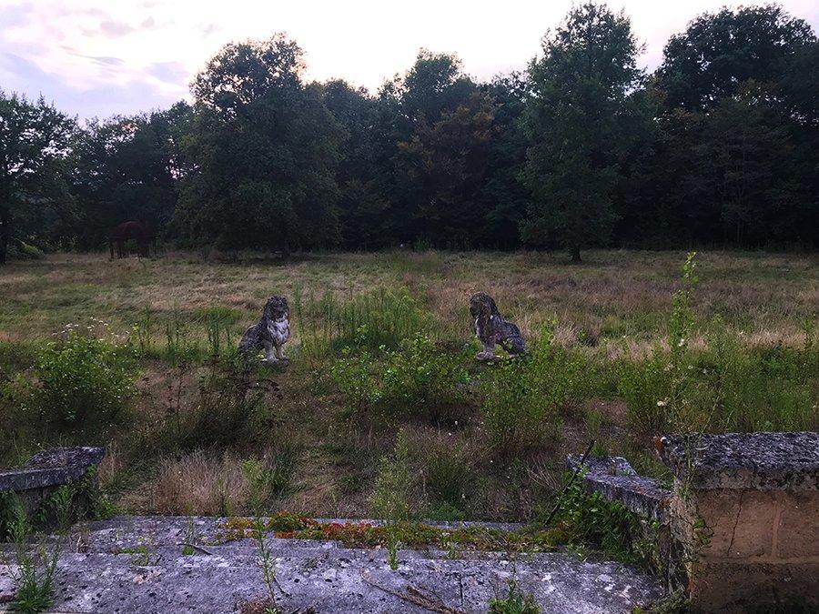 deux statues de lion en pierre vues en urbex