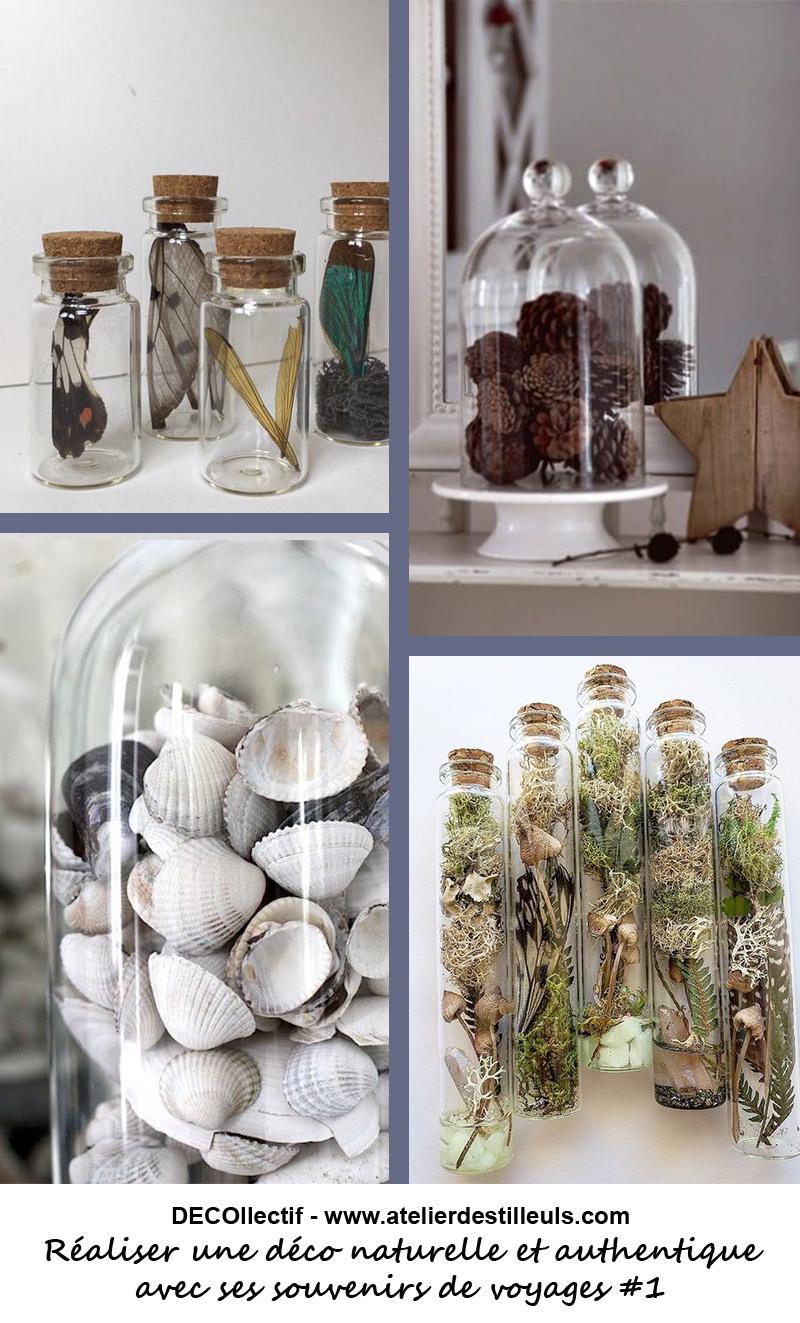 Les souvenirs de vacances exposés sous cloches ou en tubes