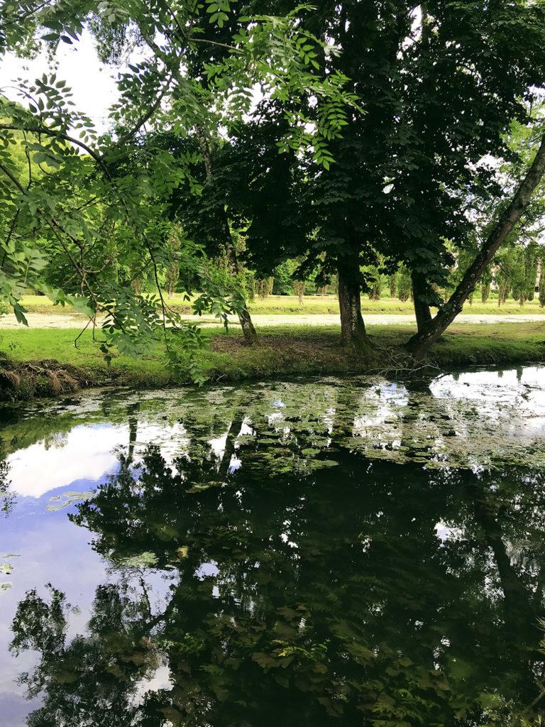vue de l'étang dans les jardins du Logis de Forge en Charente
